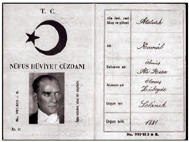Mustafa Kemal Atatürk'ün nüfus cüzdanı